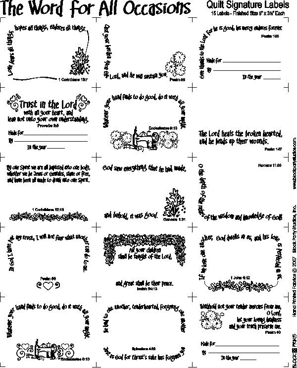 Word for all Occasions Quilt LABELS PRE-PRINTED PANEL BLACK INK on WHITE Block Party Studios