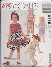 Children's Top Skirt Pants & Shorts Sewing Pattern McCall's 6465 Sizes 4-5-6