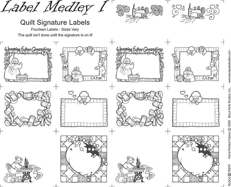 Label Medley I BLACK INK on WHITE Quilt LABELS PRE-PRINTED PANEL Block Party Studios