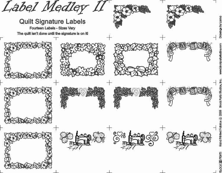 Label Medley II BLACK INK on WHITE Quilt LABELS PRE-PRINTED PANEL Block Party Studios