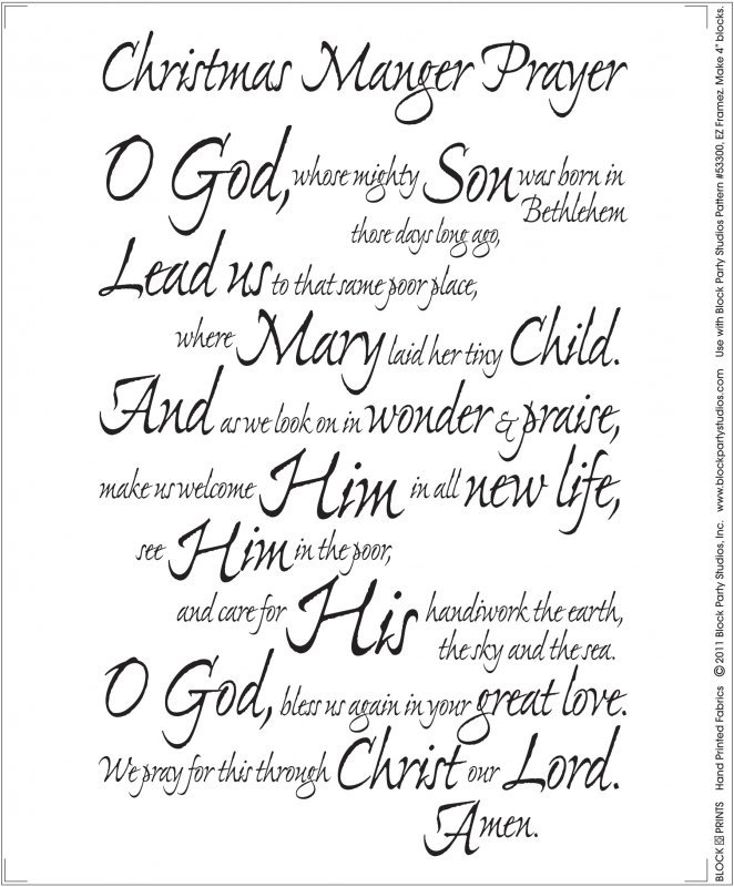 Written Panel Christmas Manger Prayer Natural With Black Writing Quilt Fabric Panel 18'' x 22'' Block Party Studios