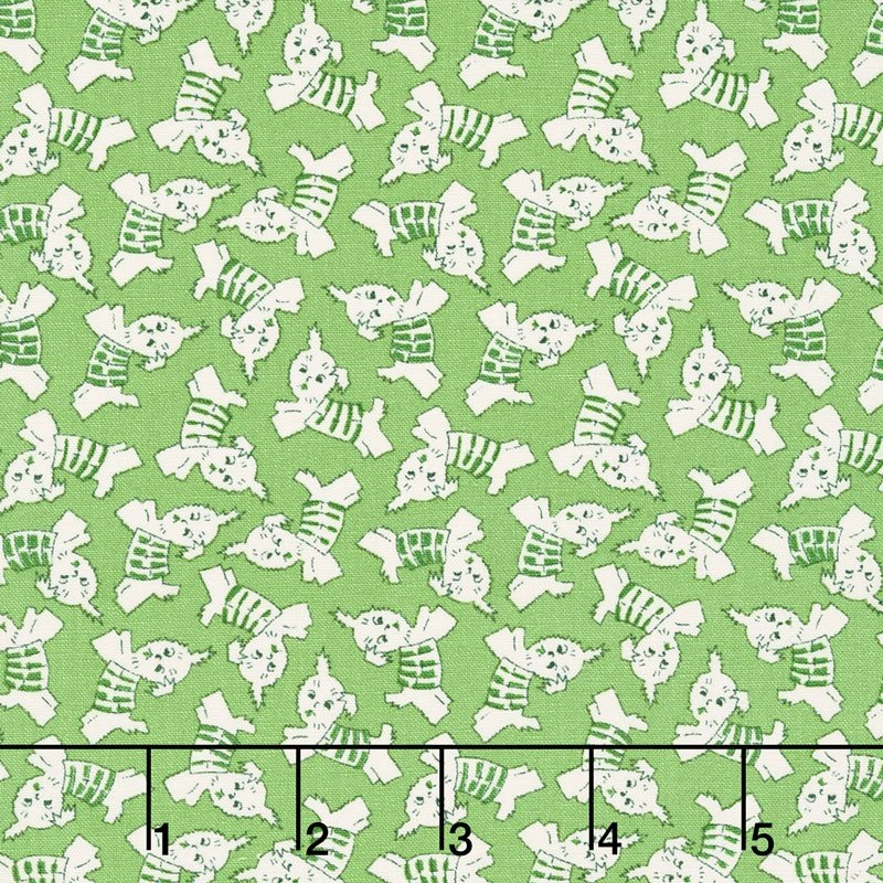 Wilmington Prints Greetings - Puppy Toss (Green)