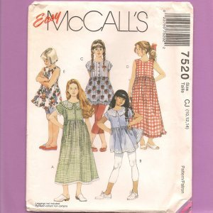 Girls' Dresses or Tops Sewing Pattern McCall's 7520 Easy Size 10 12 14