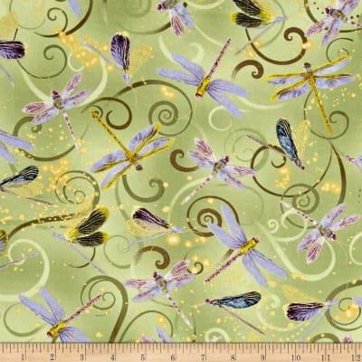 Fabric Cotton Dancing Dragonflies Celedon Metallic Dance of the Dragonfly