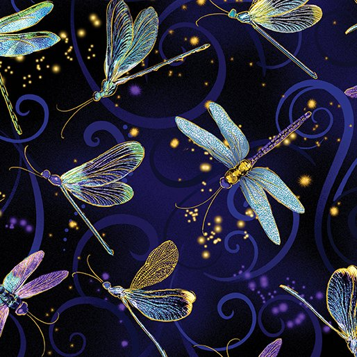 Dancing Dragonflies Navy Metallic Dance of the Dragonfly 43/44 100% Cotton