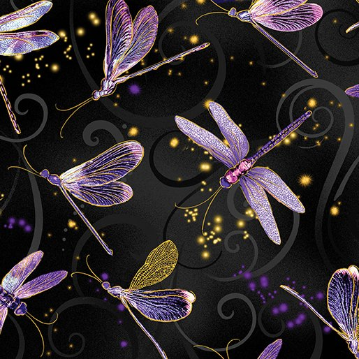 Fabric Cotton Dancing Dragonflies Black Metallic Dance of the Dragonfly
