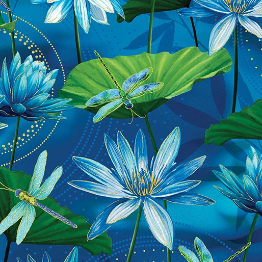 Waterlily Pool Ultramarine by Kanvas Studio Dance of the Dragonfly 44/45 100% Cotton
