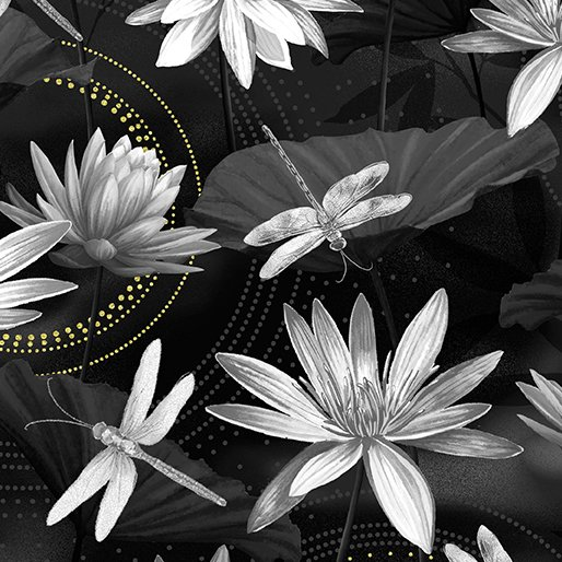 Fabric Cotton waterlily Pool Black/Gray Metallic Dance of the Dragonfly