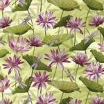 Fabric Cotton Grass Green Waterlily Pool Metallic Dance of the Dragonfly