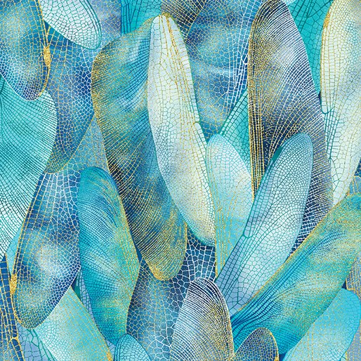 Fabric Cotton Gilded Wings Aquamarine Dance Of The Dragonfly Collection by Kanvas Studios