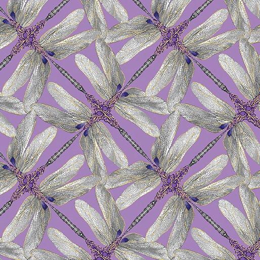 Fabric Cotton Pinwheel Geo Lavender/Grey Metallic Dance of the Dragonfly