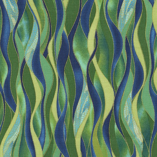 Fabric Cotton Dancing Waves Emerald  Metallic Dance of the Dragonfly