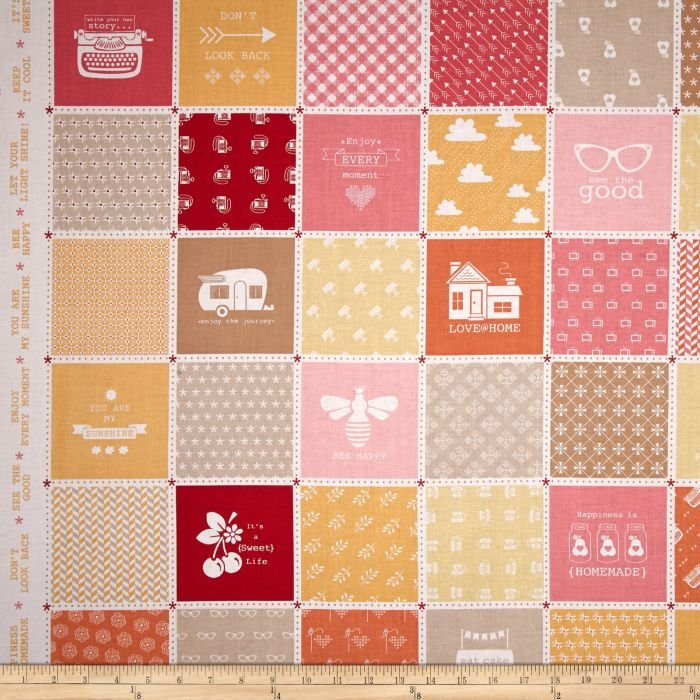 Fabric Cotton Riley Modern Minis Main Orange 44/45