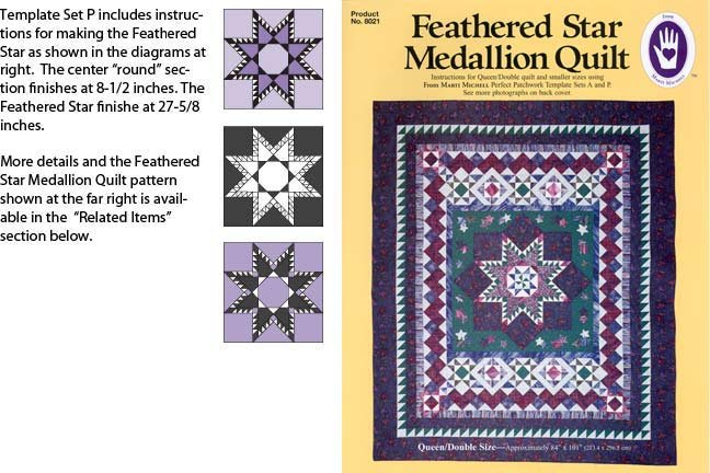 Set P Template Large Feathered Star Marti Michell