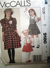 Girl's Jumper Blouse Sewing Pattern McCalls 9180 Size 7 Missing envelope but Uncut