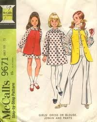 Girls Dress Blouse Pants Sewing Pattern from 1970s. Vintage McCalls 9671