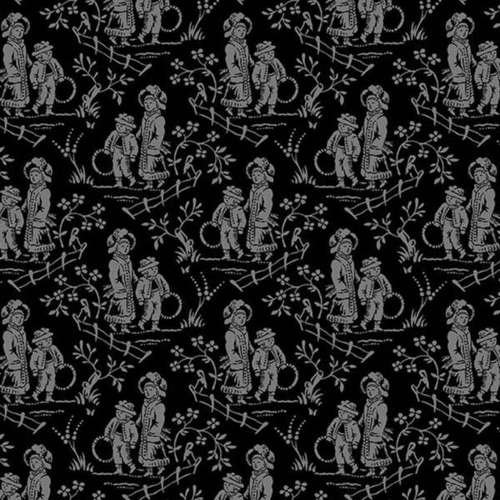 Fabric Cotton Quilt Henry Glass FRENCH LAUNDRY BLACK/GREY TOILE 9714-99 44/45'' 100% Cotton