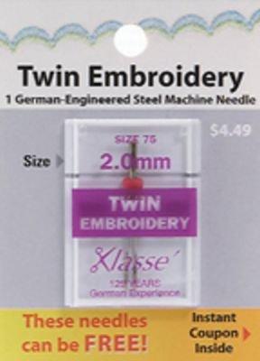 Needle Klasse Needle Twin Embroidery 2.0/75