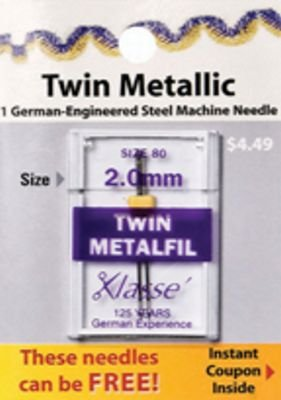 Needle Klasse Needle Twin Metallic 2.0mm Size 80