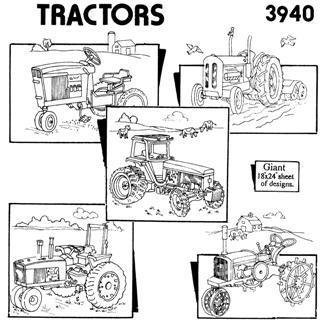 Embroidery Kit Aunt Martha's Tractors - Iron On Transfers