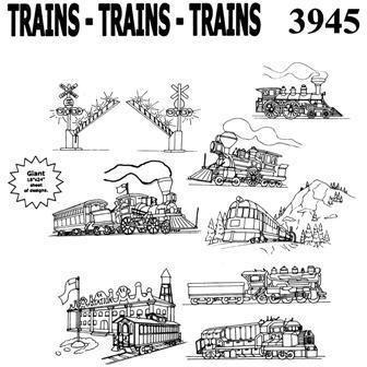 Embroidery Kit Aunt Martha's Trains-Trains-Trains - Iron On Transfers