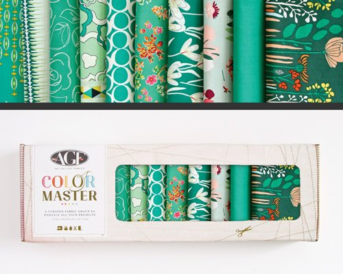 Fabric Cotton Color Master 10 Fat Quarter Cuts by Art Gallery Fabrics Emerald Stone Collection