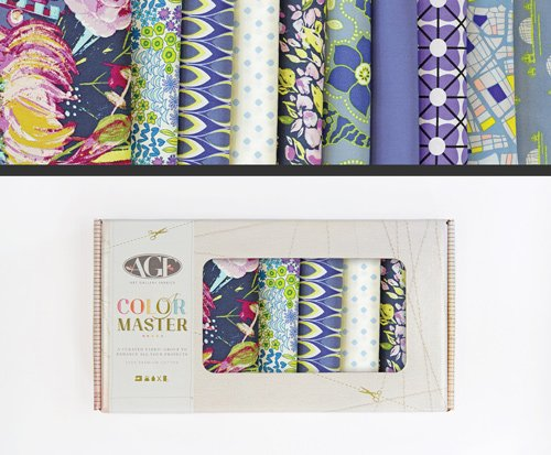 Fabric Cotton Color Master 10 Fat Quarter Cuts by Art Gallery Fabrics Sapphire Shine Collection