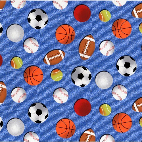 SPORTS PRINTS BALL Allover CP34852 MARSHALL DRY GOODS 44/45 100% Cotton