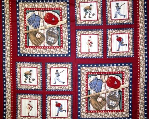 SPORTS Bases Loaded Pillow panel CP34894 MARSHALL DRY GOODS CP34894