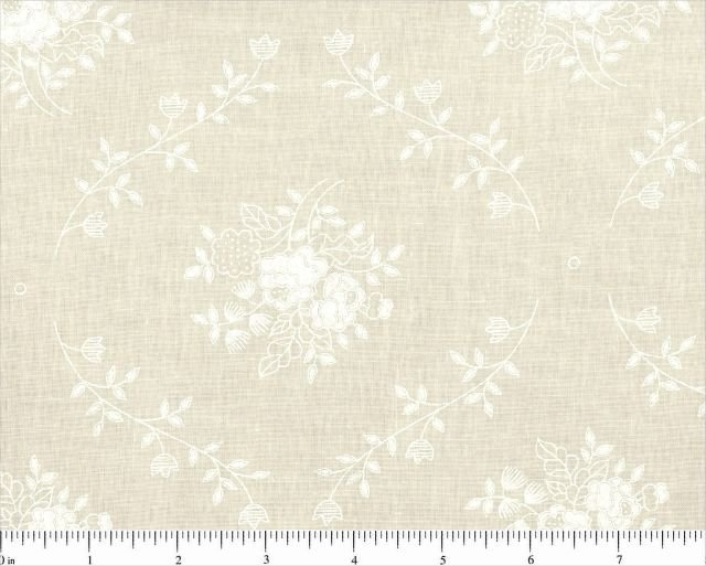 Remnant 2 yard piece 108'' Backing Tonal White on Natural Nosegay 30510 W/N 100% Cotton