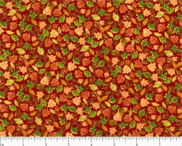 Fabric Cotton Harvest Basic Leaves Multi on Rust Background