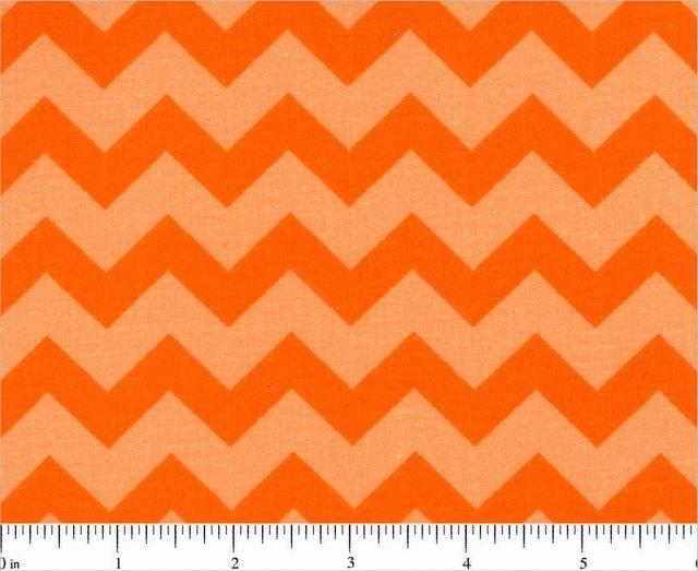 Fabric Cotton Chevron One half 1/2 inch Color Orange on Orange Tonal 44/45'' 100% Cotton