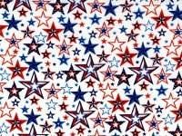 Fabric Cotton Patriotic Stars Print with White Background