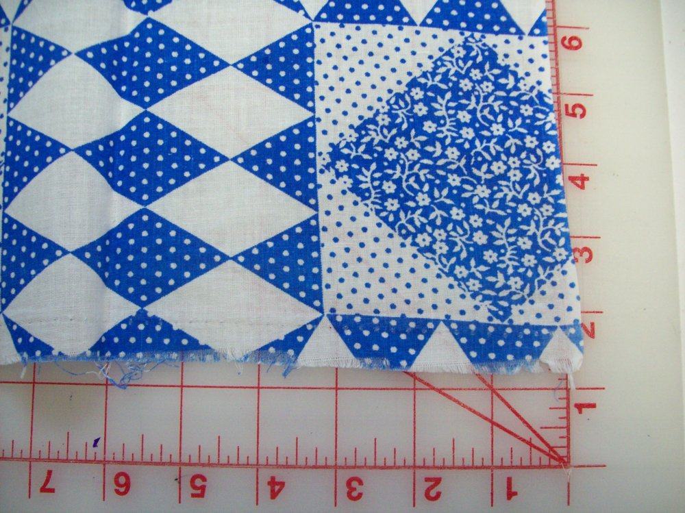 Un opened Flour Sacks Blue and White Vintage Cheater Dots and Flowers 23'' x 13'' doubled Cotton