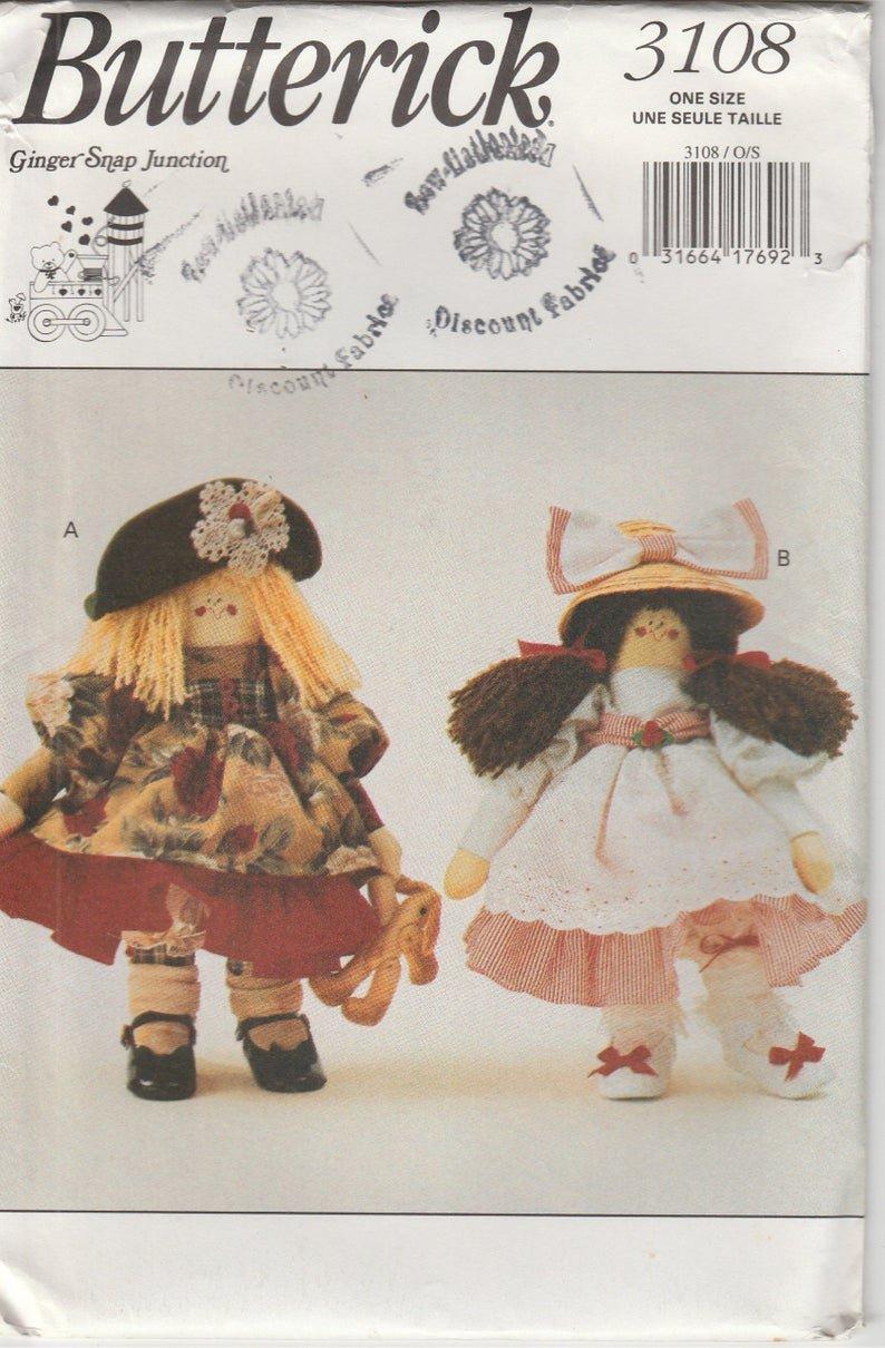 Doll Pattern Annie Apple Cheeks Butterick 3108 Year 1993
