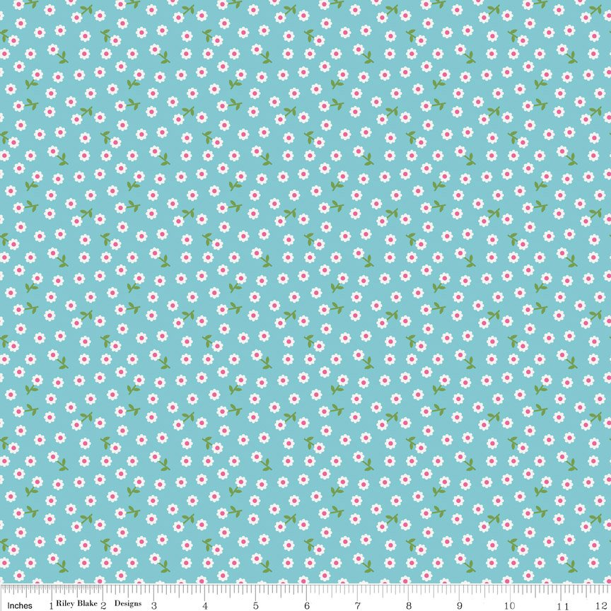 Riley Summer Song 2 C4625 Blue 44/45 Fabric Cotton