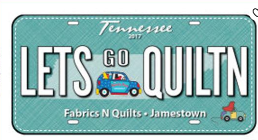 Row by Row 2017 License plate Lets Go Quiltin