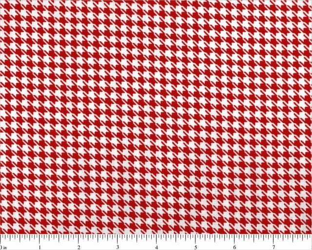 Fabric Cotton Mardi Gras Houndstooth Claret Red White 1/8 inch size Choice Fabrics