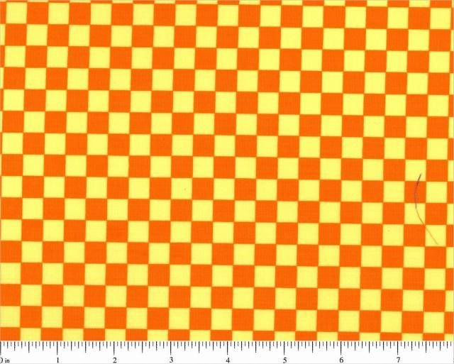 Basically Yours Orange and Yellow Collection Checkerboard 3/8'' checks 44/45''
