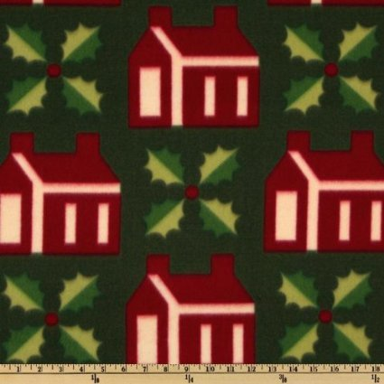 CHOICE FABRIC 60'' Wide Fleece Christmas Holly Green/Red Houses