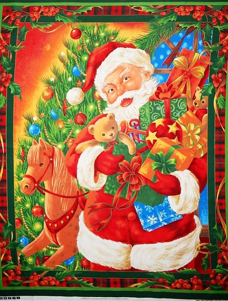 Panel 36 x44 Santa by the Christmas Tree Gifts Presents Wall Hanging
