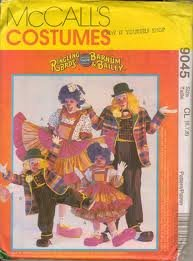 CLOWN'S COSTUMES PATTERN McCall's 9045 RINGLING BROS BARNUM & BAILEY CIRCUS CLOWN CHILD SIZES 3-4-5
