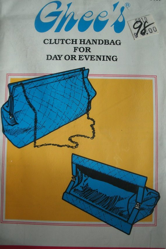 Pattern Ghee's Clutch Handbag for Day or Evening Pattern #701 Rectangular Shape 11 x 7 1/2 Vintage