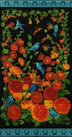 Panel Bird and Floral Panel 24X44 Timeless Treasures Arcadia Metallic Bold Floral Black Fabric Cotton