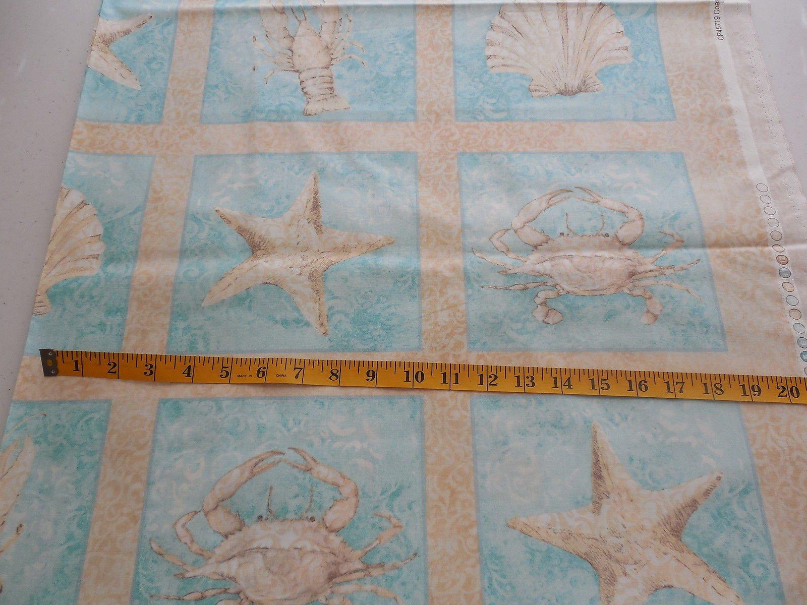 Fabric Cotton Panel 23 x WOF Susan Winget Coastal Patterns Block Print
