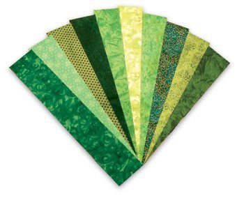 Color Stories Green Strips 2 1/2'' x 44'' - 20 pieces Fabric Roll