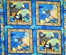 Fabric Cotton Panel Animal Pillow Panel Coral Seas Pillow Panel