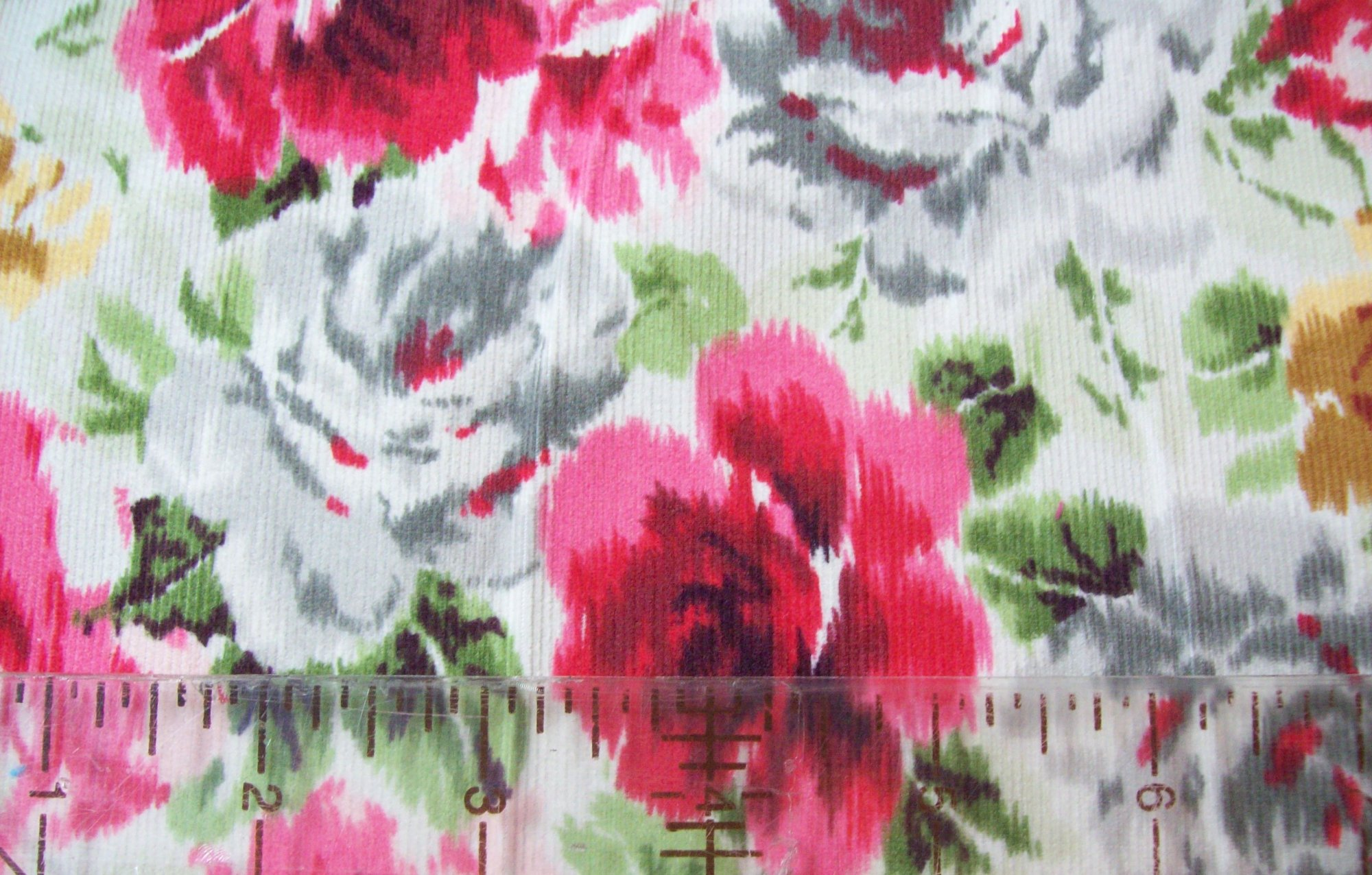 Fabric Corduroy Famous Names Corduroy 45'' wide Floral Roses Red and Gold
