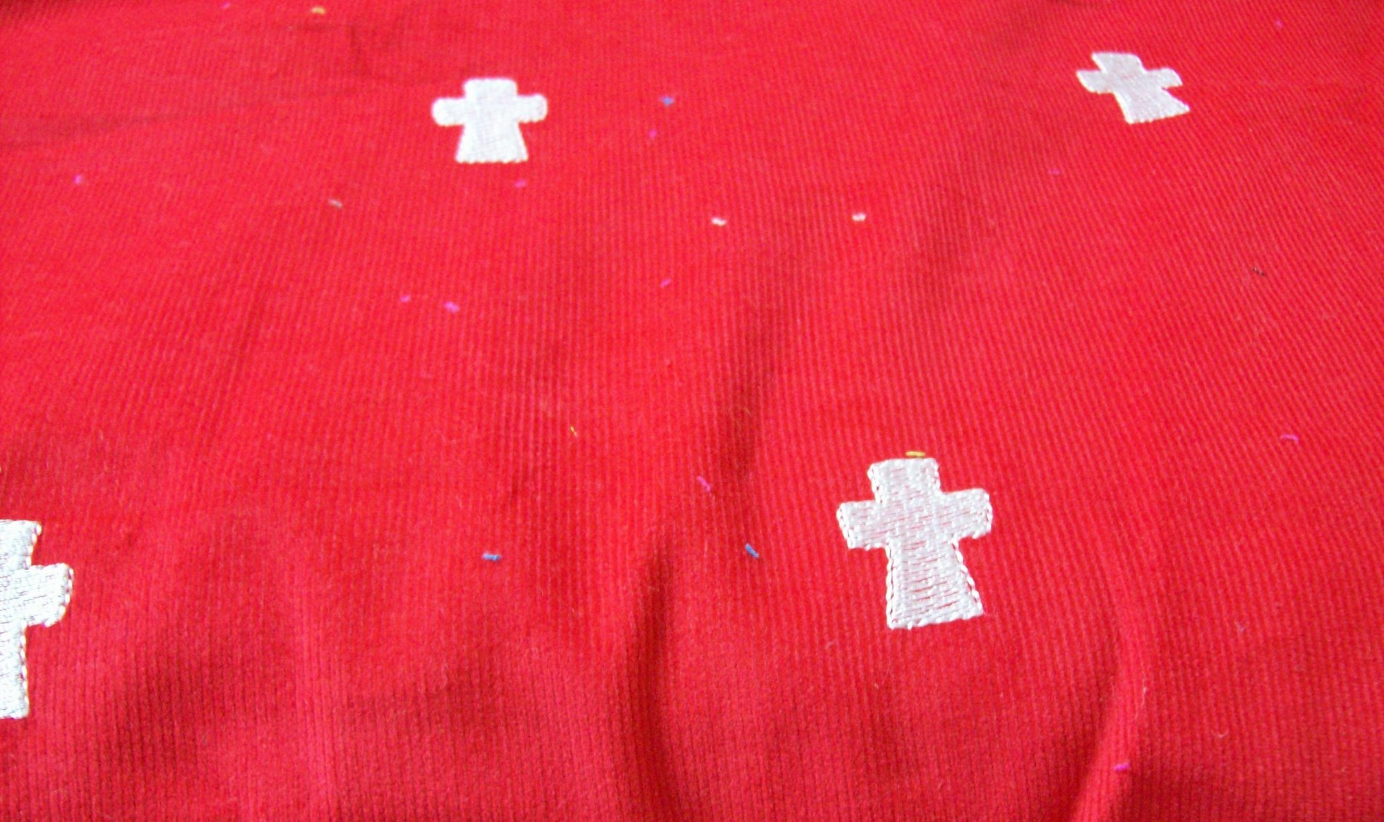 Famous Names Corduroy 56'' wide Scarlet Red with Crosses