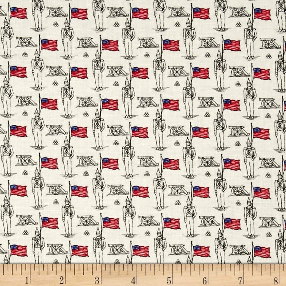Fabric Cotton Mary Fons Small Wonders Americana Soldier Cream